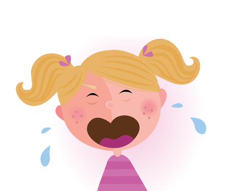 Crying baby girl. Crying small child.  Vector