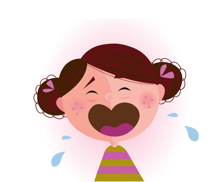 Crying baby girl. Crying small child. Stock Vector - 6881299