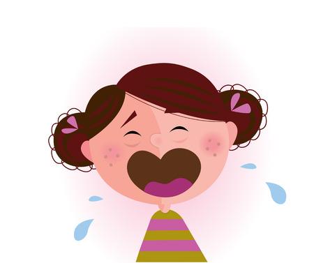 wenen: Huilende baby meisje. Klein kind huilen.