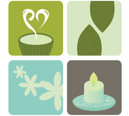 herbal medicine: Wellness and relaxation icon pack.