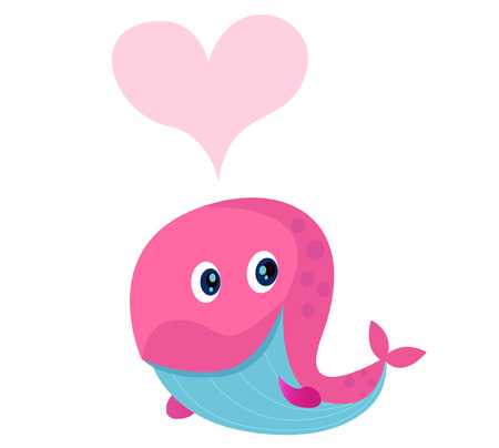 Cute pink whale with heart shape in love.  Vector