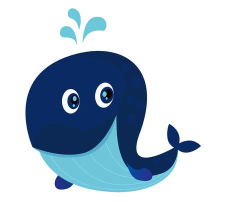 Grande oceano blu balena cartone animato.