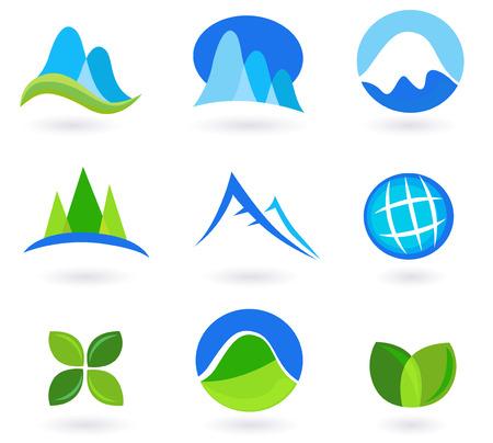 mountain meadow: Iconos naturaleza, la monta�a y el turismo - azules y verdes.