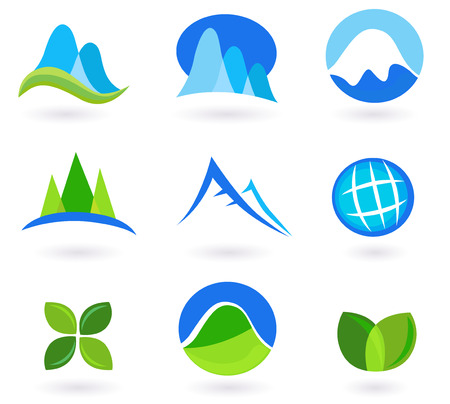 Nature, mountain and tourism icons - blue and green.  Vector