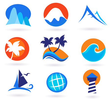 Vacation, travel and holiday summer icons - red, orange, blue. Vector