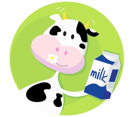 milchkuh: Gl�cklich Kuh mit Milch-Box auf gr�nem Hintergrund.