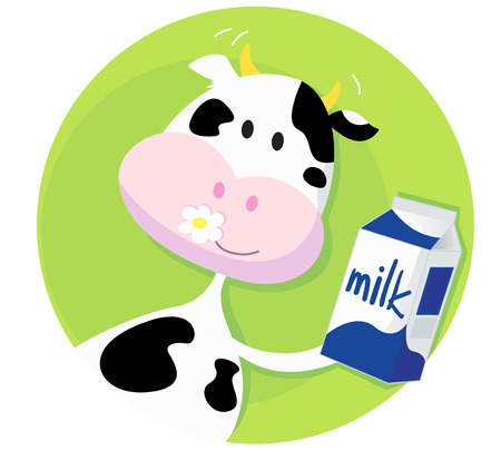 Happy cow with milk box on green background. Vector