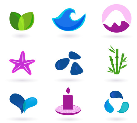 meditation stones: Wellness, relaxation and medical icons - blue and pink. Wellness, medical and relaxation icon set. Collection of 9 design elements inspired by water, nature, soul and meditation. Perfect use for websites, magazines and wellness brochures.  Illustration