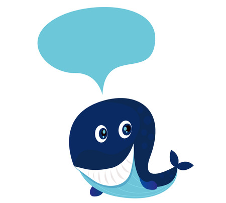 bijschrift: Grote blauwe cartoon walvis geïsoleerd op wit. illustratie van blauwe cute cartoon walvis met tekst ballon. Schrijf je eigen tekst  bijschrift in het!
