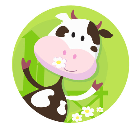 Happy cow character  - farm animal.  illustration of funny cow on the meadow.  Ilustração