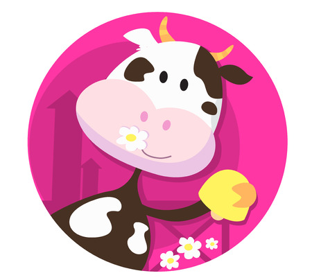 Happy cow character with bell - farm animal. Illustration of happy cartoon farm animal with yellow bell. Funny cow character isolated on pink. Vector