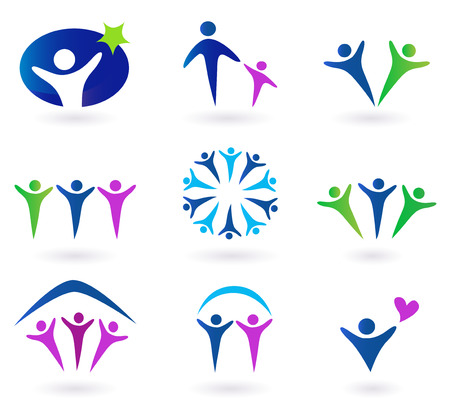 round logo: Community, network and social icons - blue, green and pink. Community, network and social icon set. Collection of 9 design elements inspired by people, family, love and togetherness. Perfect use for websites, magazines and brochures.