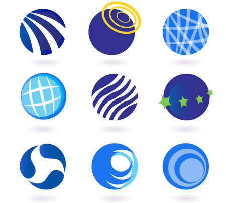 media logo: Abstract globes, spheres, circles earth  icons - blue. Set of modern abstract design elements with globes, spheres, circles and earth symbols. Collection of  icons - perfect for corporate design, magazines and travel brochures.