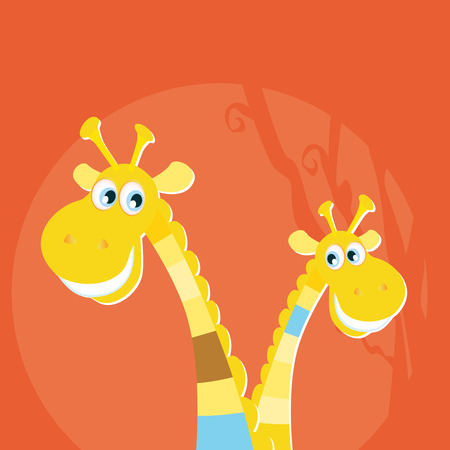 Safari animals - big and small giraffe. Two yellow giraffes in red sunset savannah. Vector