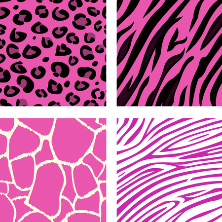 Fashion tiling pink animal print patterns. Animal print patterns of tiger, zebra, giraffe and leopard in pink color. Vector Illustration. Vector