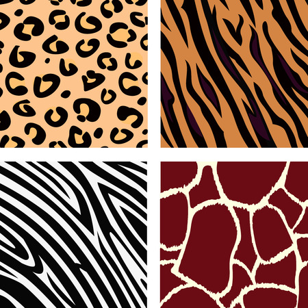 repeat square: Animal pattern - tiger, zebra, giraffe, leopard. Vector Illustration of tiger, zebra, giraffe and leopard pattern. Animal print pattern. Illustration