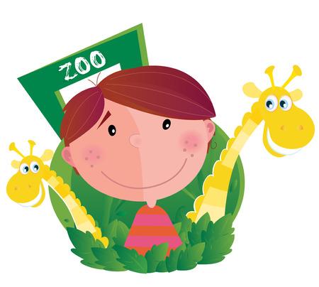 Kleiner Junge mit zwei Giraffen im Zoo. Glücklich kleiner Junge mit zwei Zoo-Tiere. Vektor-Cartoon-Illustration.
