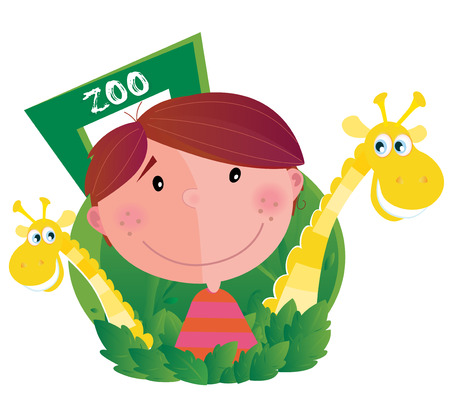 Small boy with two giraffes in zoo. Happy small boy with two zoo animals. Vector cartoon illustration. Stock Vector - 7002337