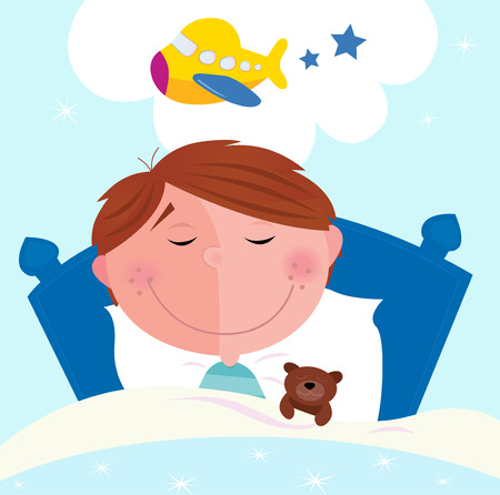 Small boy sleeping in bed and dreaming about airplane. Cute small boy sleeping in bed with teddy bear and dreaming about new toy. Vector cartoon illustration. Vector