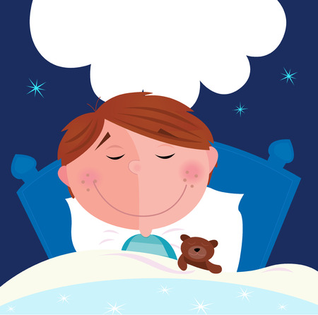 pyjama: Small boy with his teddy bear sleeping in bed. Cute small boy sleeping and dreaming. Write the dream inside speech bubble! Vector Illustration.
