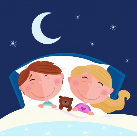 Siblings - boy and girl sleeping and dreaming in bed. Cute children sleeping in the bed. Moon and stars on the sky behind. Cartoon vector illustration.