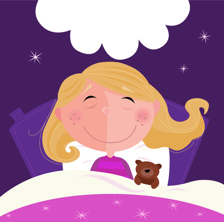 Sleeping and dreaming girl in pink pyjama. Cute girl sleeping with her teddy during dark blue night. Stars in background behind bed. Vector Illustration. Vector
