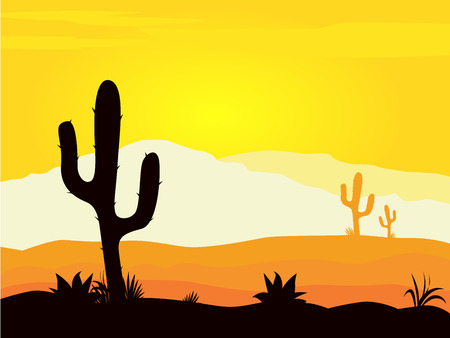 mexican cartoon: Mexico desert sunset with cactus plants silhouette and mountains. Yellow desert scene with cactus plants, weeds and mountains. Sunset in mexico desert.