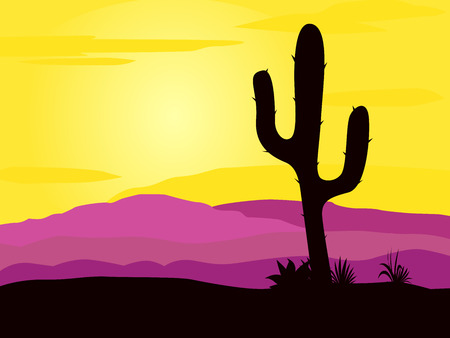 mexican cartoon: Mexico desert sunset with cactus plants silhouette and mountains. Pink and yellow desert scene with cactus palnts, weeds and mountains. Sunset in mexico desert.  Illustration