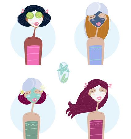 pepino caricatura: Tratamiento facial: la mujer con m�scara facial. Cuatro ni�as hermosas con m�scara facial. Tomar tratamiento de bienestar - pepino en ojos, m�scara facial de mar muerto, peeling natural verde y crema de calma para cada piel.