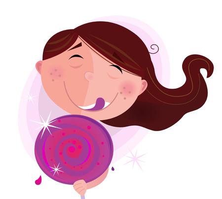 kid eat: Bambino piccolo con lecca-lecca isolato su sfondo bianco. Piccola ragazza con lecca-lecca. Illustrazione vettoriale