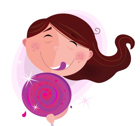 Small child with lollipop isolated on white background. Small girl with lollipop. Vector Illustration