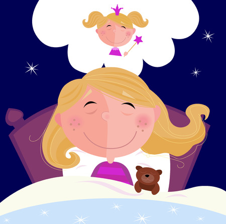 Small girl is sleeping and dreaming about princess. Girl is sleeping in bed during dark night. She is dreaming about princess.