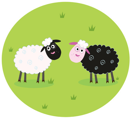 Black and white sheep. The difference - oposite sheep, black and white. Stylized  cartoon Illustration. Vector
