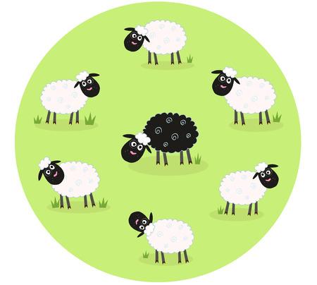 zwart schaap: Een zwarte schapen is eenzaam in het midden van de witte schapen familie. Gestileerde illustratie van schapen familie. De zwarte schapen is anders. Deze schapen is buitenstaander en staan.