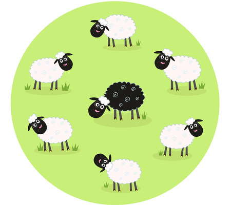 One black sheep is lonely in the middle of white sheep family. Stylized  illustration of sheep family. The black sheep is different. This sheep is outsider and standing alone.  Vector