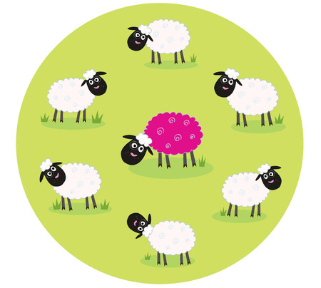 baa: One pink sheep is lonely in the middle of white sheep family. Stylized  illustration of sheep family. The pink sheep is different and standing alone. Is this sheep with new hair color trendsetter Or its just genetic modification Illustration