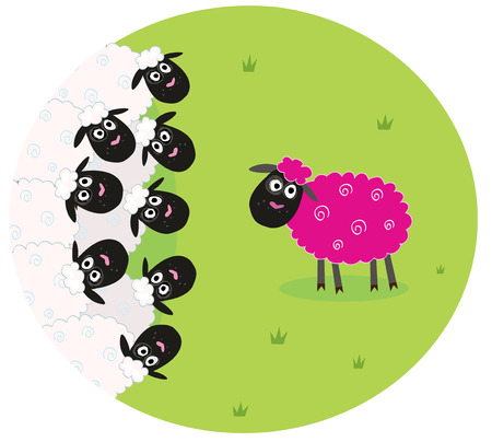 One pink sheep is lonely in the middle of white sheep family. Stylized illustration of sheep family. The pink sheep is different and is standing alone. New hair color or genetic modification