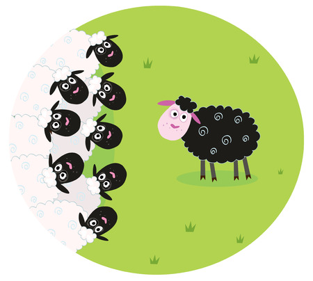 baa: One black sheep is lonely in the middle of white sheep family. Stylized  illustration of sheep family. The black sheep is different and is standing alone. Illustration