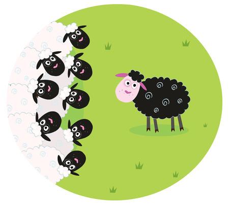 Uno de oveja negra es solitaria en el centro de la familia de ovejas blancas. Ilustración estilizada de la familia de ovejas. La oveja negra es diferente y está de pie por sí sola.