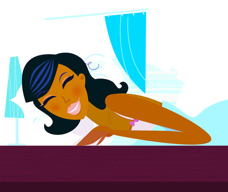 Time to sleep: Young woman is sleeping in the bed.  Vector