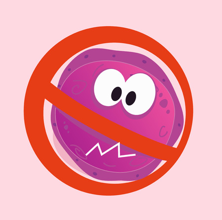 porcine: Stop virus - aids virus in red alert sign. Stop virus warning sign.  illustration of aids virus in red alert circle isolated on pink background.