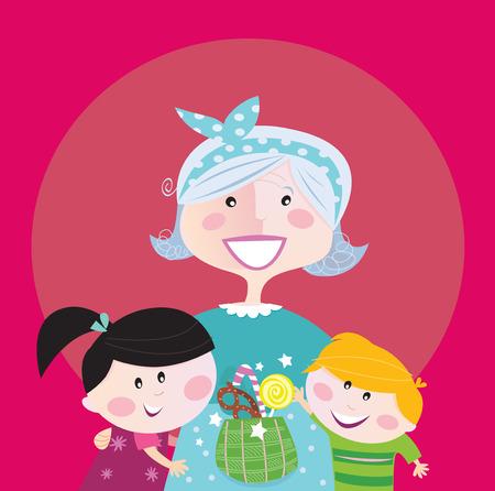 Generation family portrait: Grandmother with grandchildren. Stylized Illustration.