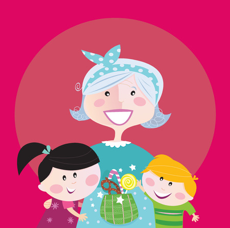 grandchildren: Generation family portrait: Grandmother with grandchildren. Stylized  Illustration.
