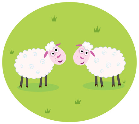 baa: Two white sheep. Stylized  illustration of two white sheep on green meadow. They are looking at each other.