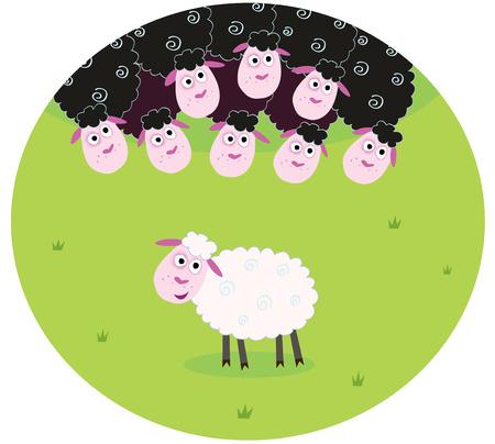 Blanco y negro ovejas. La diferencia - enfrente de ovejas, blancos y negro. Oveja blanca entre la familia de oveja negra. Caricatura estilizada ilustración.