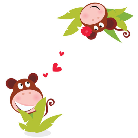 island clipart: Monkey male and female in love looking each at other behind palm leaves.  Illustration.
