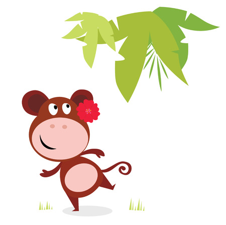 Exotic cute dancing monkey with red flower and palm leaf behind. Illustration of cute dancing monkey isolated on white background. Vector