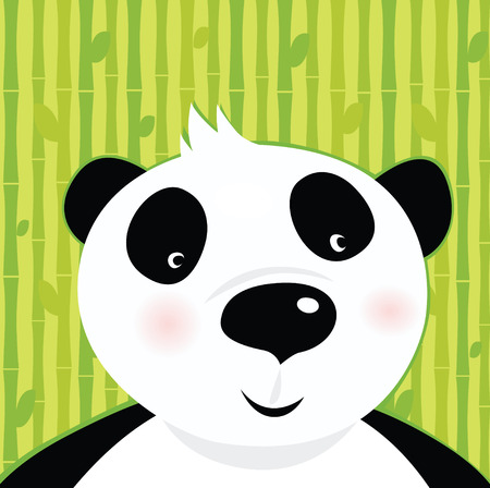 Black and white panda bear on bamboo leaf green background. Stylized illustration of cute panda bear. Bamboo trees in background behind animal. Vector