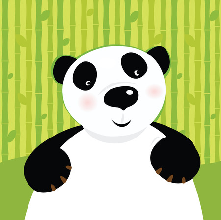 Black and white panda bear on bamboo leaf green background. Stylized  illustration of cute panda bear.  Vector