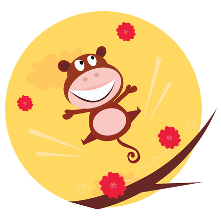 Happy jumping monkey and red flowers in the air. Cute brown monkey is jumping in the air.  cartoon illustration. Stock Vector - 7069730